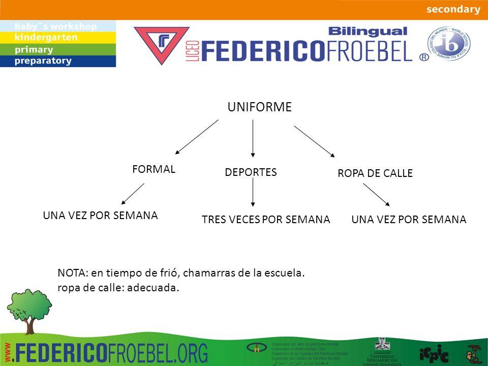 UNIFORME FORMAL DEPORTES ROPA DE CALLE UNA VEZ POR SEMANA
