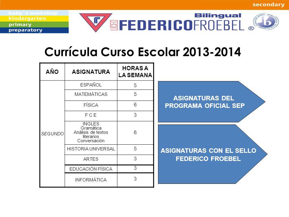 Currícula Curso Escolar 2013-2014