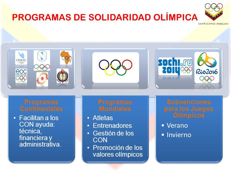 PROGRAMAS DE SOLIDARIDAD OLÍMPICA