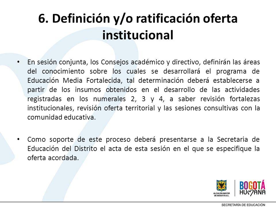 6. Definición y/o ratificación oferta institucional