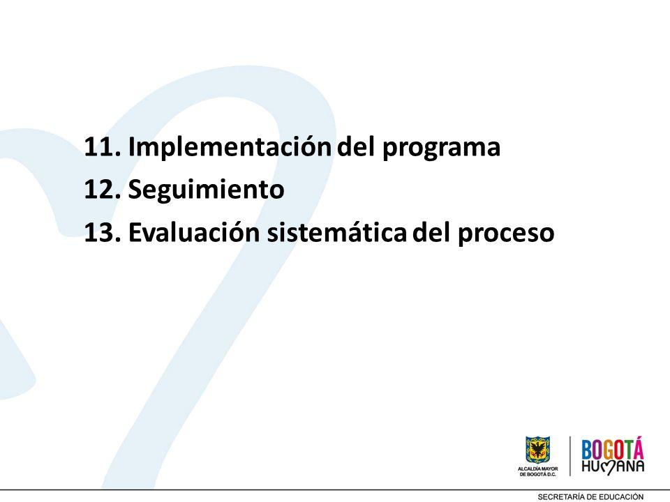11. Implementación del programa