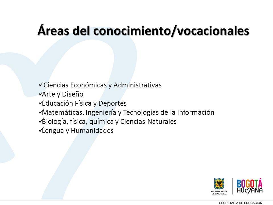 Áreas del conocimiento/vocacionales