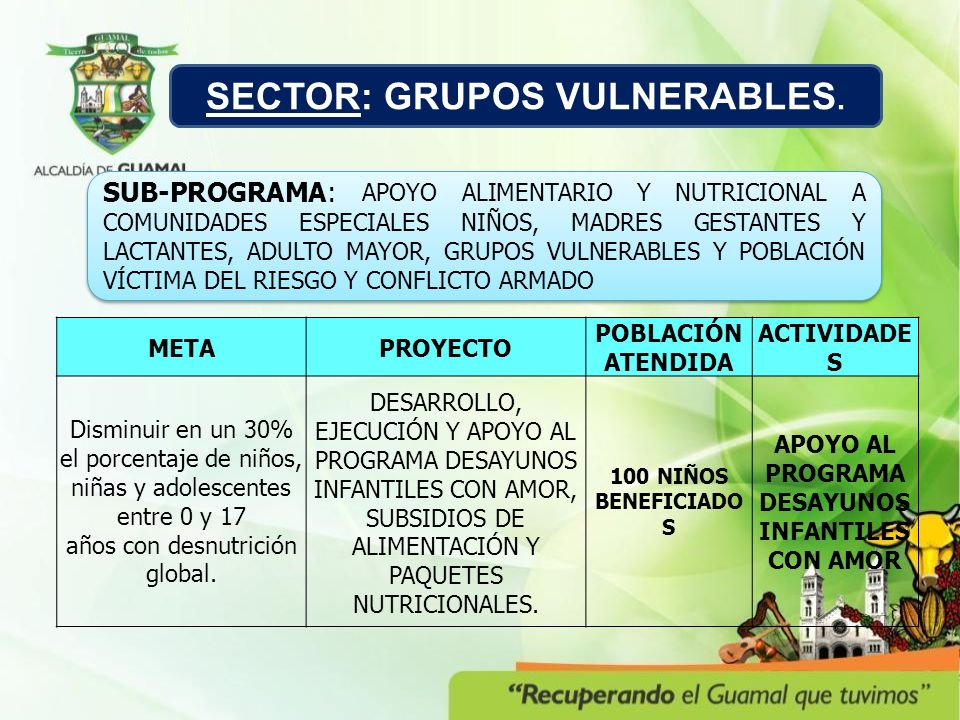 SECTOR: GRUPOS VULNERABLES.