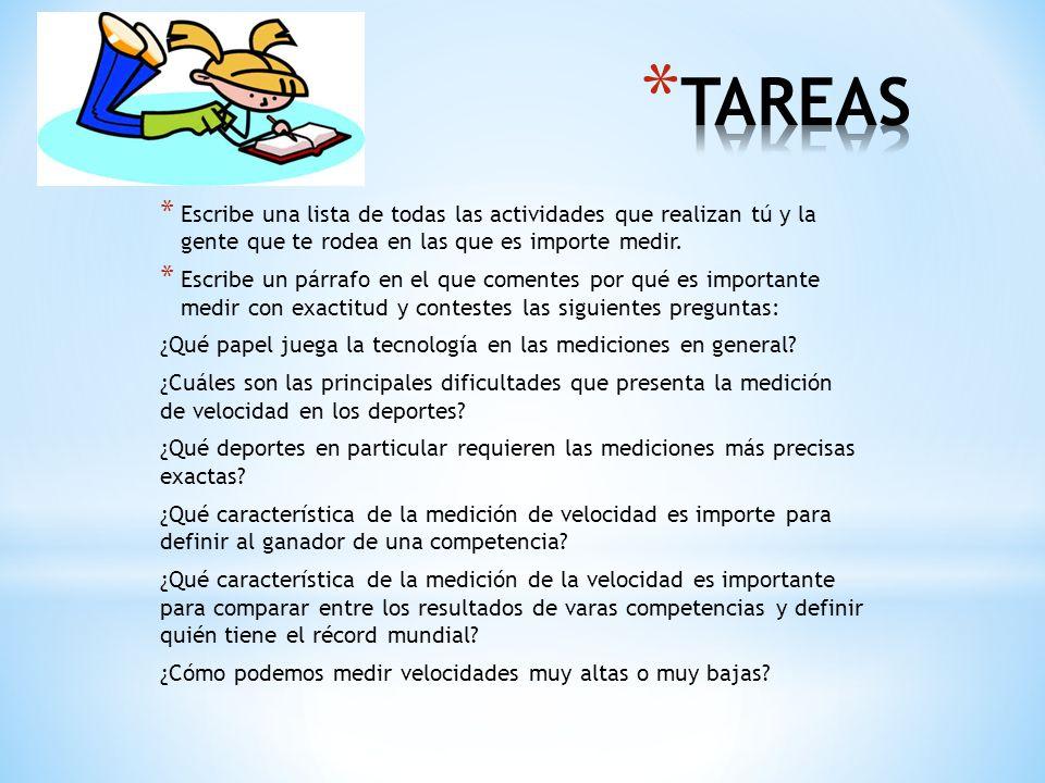 TAREAS Escribe una lista de todas las actividades que realizan tú y la gente que te rodea en las que es importe medir.