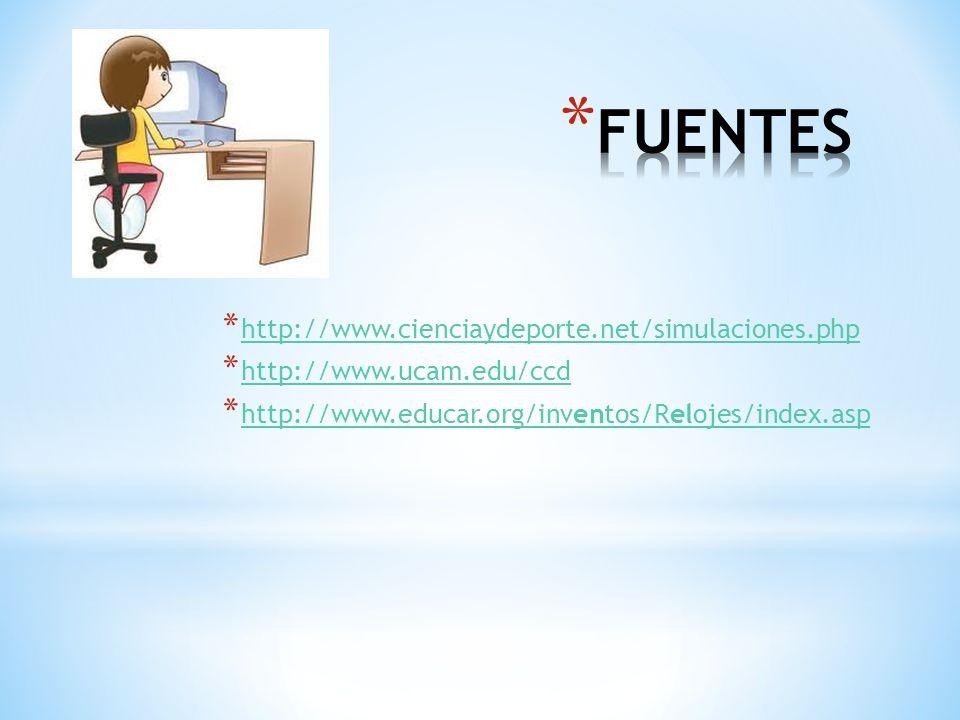 FUENTES http://www.cienciaydeporte.net/simulaciones.php