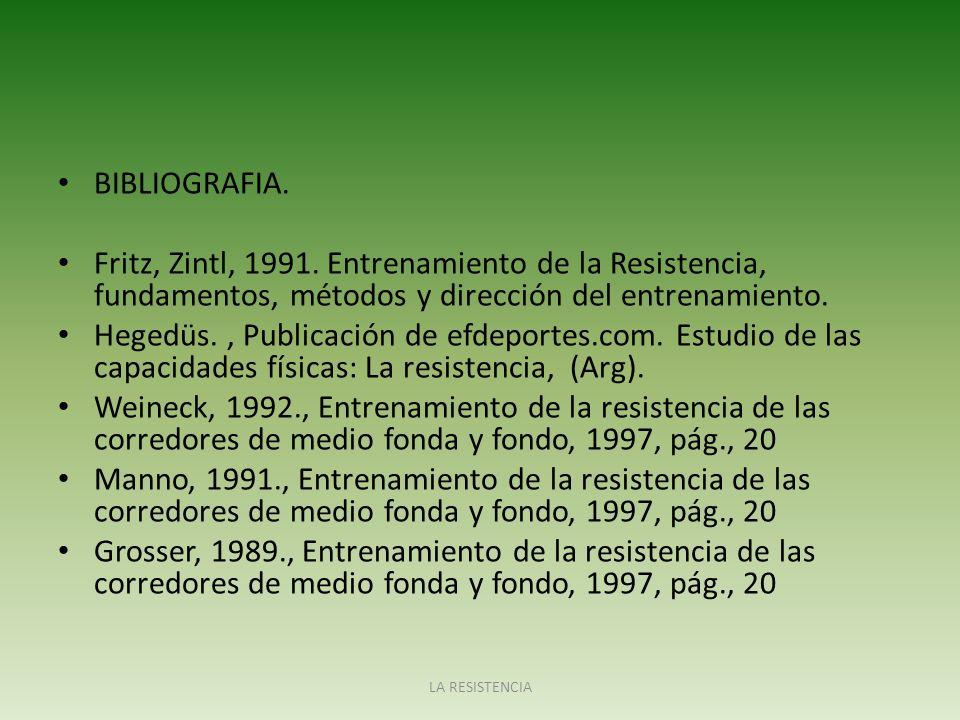 BIBLIOGRAFIA. Fritz, Zintl, 1991. Entrenamiento de la Resistencia, fundamentos, métodos y dirección del entrenamiento.