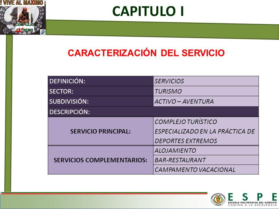 CARACTERIZACIÓN DEL SERVICIO SERVICIOS COMPLEMENTARIOS: