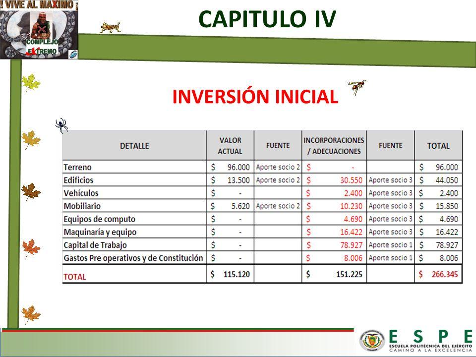 CAPITULO IV INVERSIÓN INICIAL