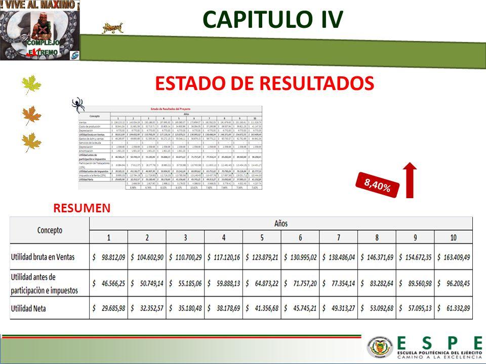 CAPITULO IV ESTADO DE RESULTADOS 8,40% RESUMEN