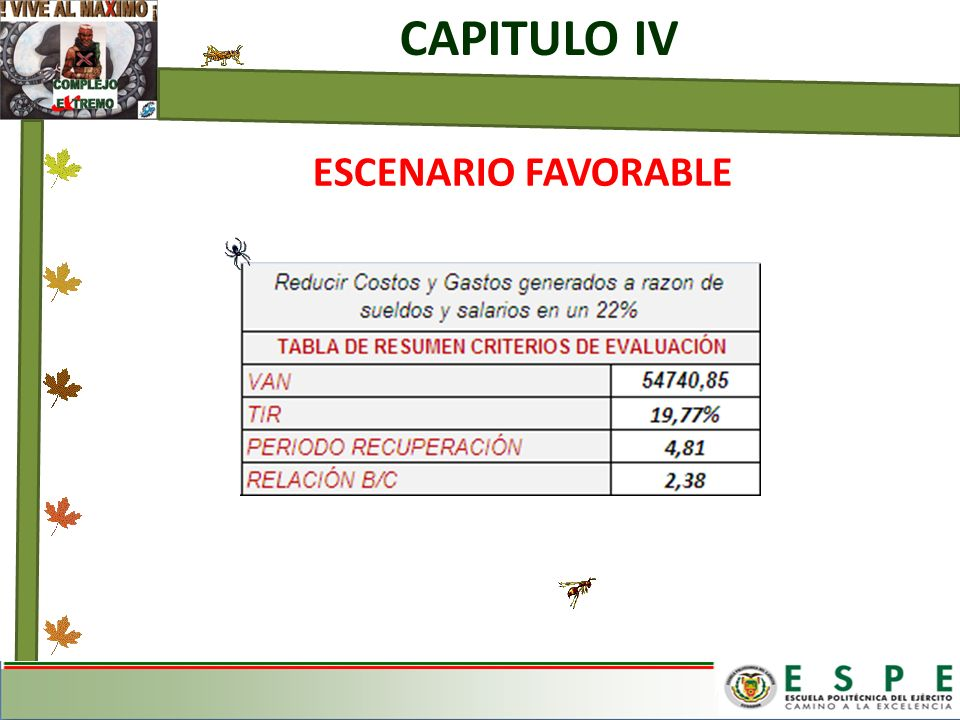 CAPITULO IV ESCENARIO FAVORABLE