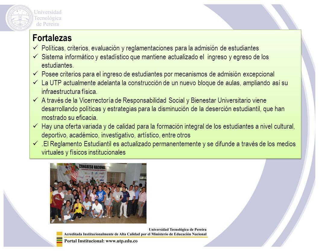 Fortalezas Políticas, criterios, evaluación y reglamentaciones para la admisión de estudiantes.