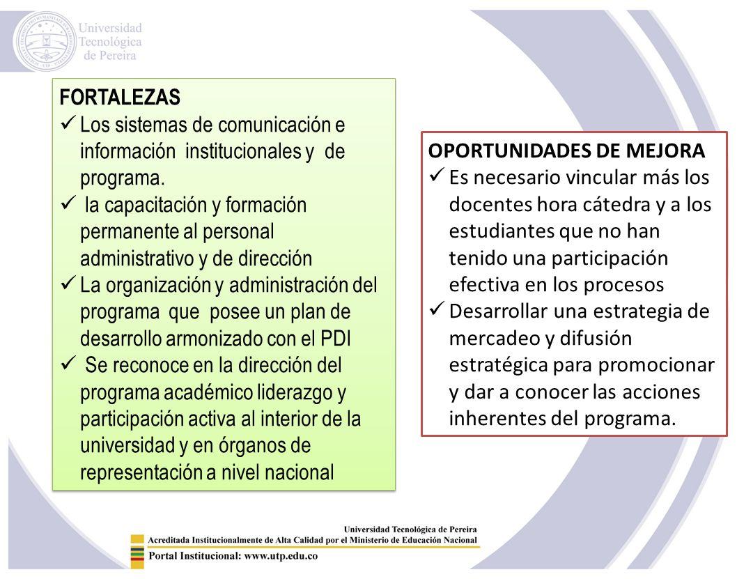 FORTALEZAS Los sistemas de comunicación e información institucionales y de programa.