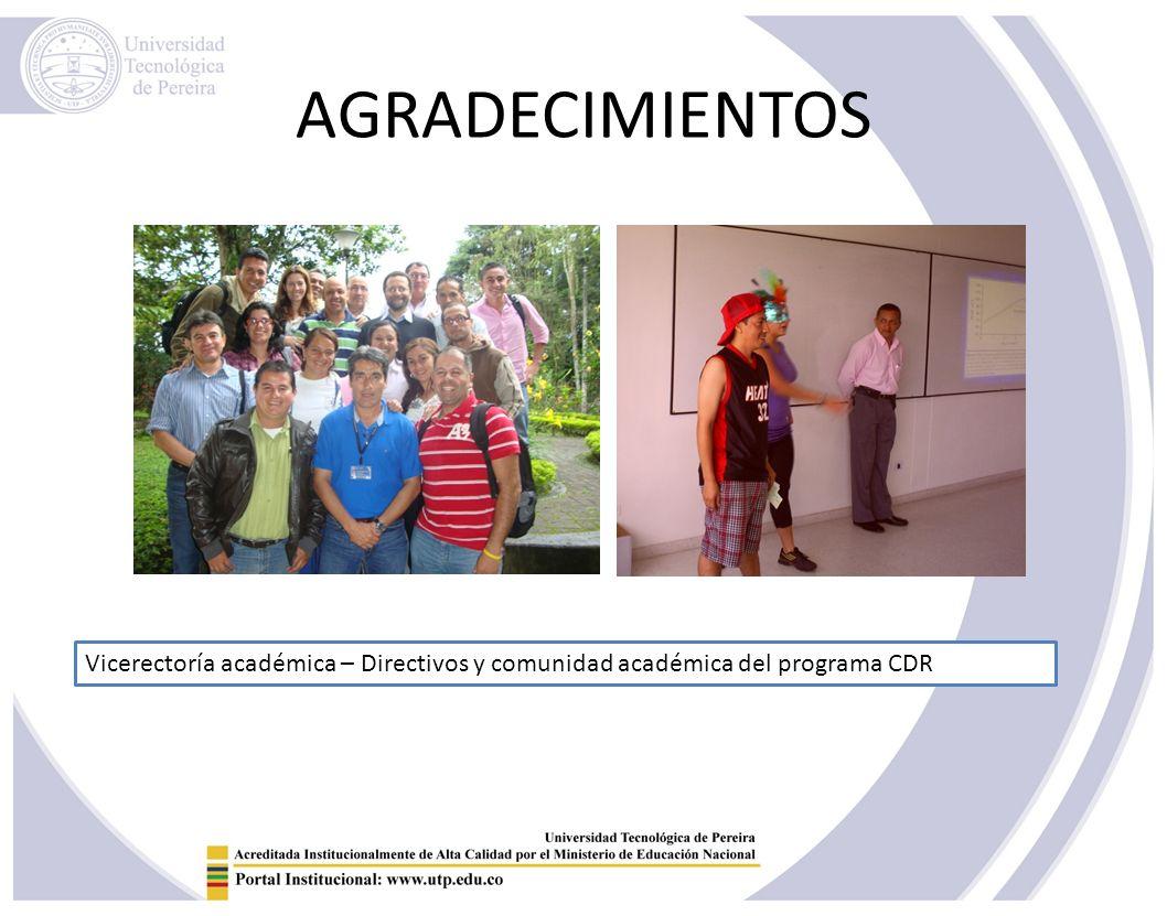 AGRADECIMIENTOS Vicerectoría académica – Directivos y comunidad académica del programa CDR