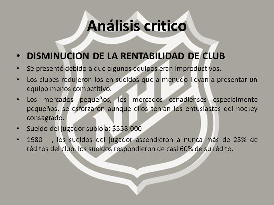 Análisis critico DISMINUCION DE LA RENTABILIDAD DE CLUB