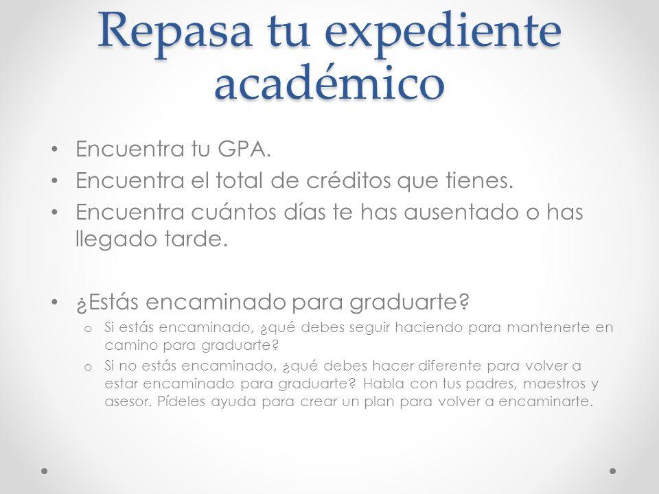 Repasa tu expediente académico