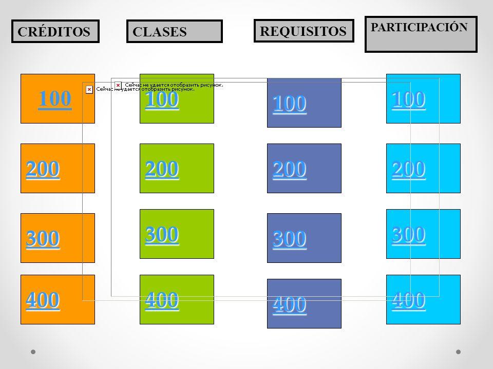 PARTICIPACIÓN CRÉDITOS. CLASES. REQUISITOS. 100. 100. 100. 100. 200. 200. 200. 200. 300.