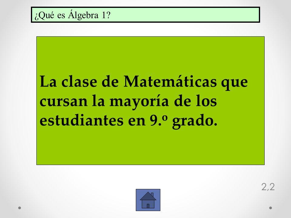 ¿Qué es Álgebra 1 La clase de Matemáticas que cursan la mayoría de los estudiantes en 9.o grado.