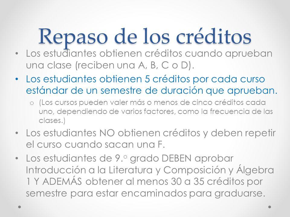 Repaso de los créditos Los estudiantes obtienen créditos cuando aprueban una clase (reciben una A, B, C o D).
