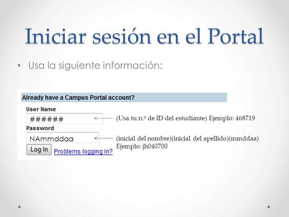 Iniciar sesión en el Portal