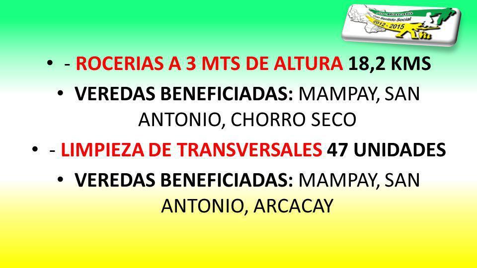 - ROCERIAS A 3 MTS DE ALTURA 18,2 KMS