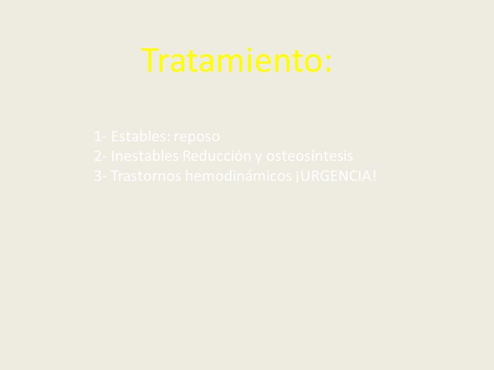 Tratamiento: 1- Estables: reposo