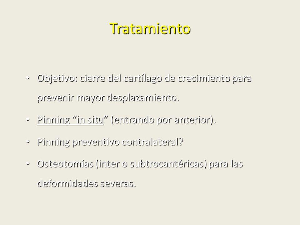 Tratamiento Objetivo: cierre del cartílago de crecimiento para prevenir mayor desplazamiento. Pinning in situ (entrando por anterior).