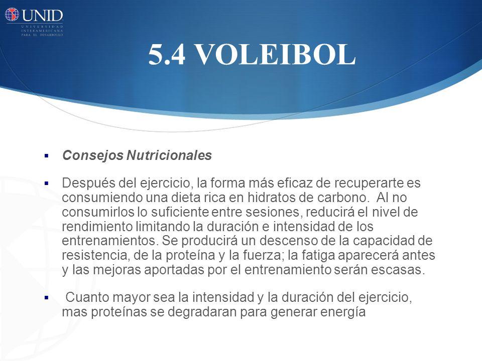 5.4 VOLEIBOL Consejos Nutricionales