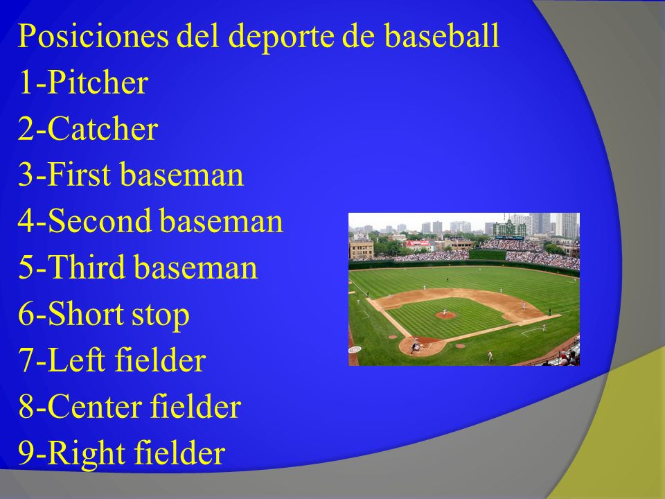 Posiciones del deporte de baseball 1-Pitcher 2-Catcher 3-First baseman 4-Second baseman 5-Third baseman 6-Short stop 7-Left fielder 8-Center fielder 9-Right fielder