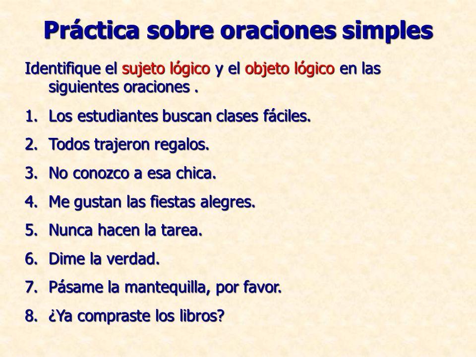 Práctica sobre oraciones simples