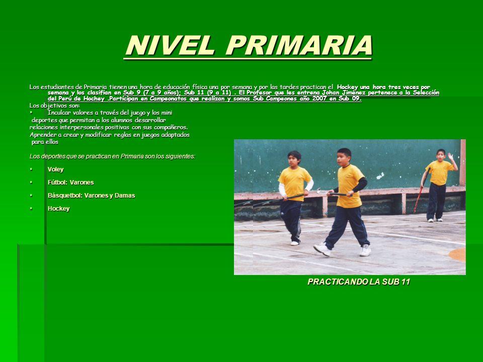 NIVEL PRIMARIA PRACTICANDO LA SUB 11