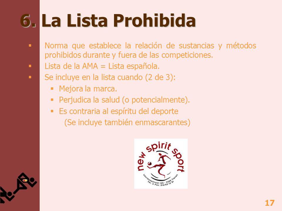 6. La Lista Prohibida Norma que establece la relación de sustancias y métodos prohibidos durante y fuera de las competiciones.