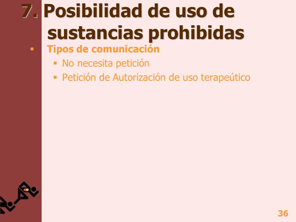 7. Posibilidad de uso de sustancias prohibidas