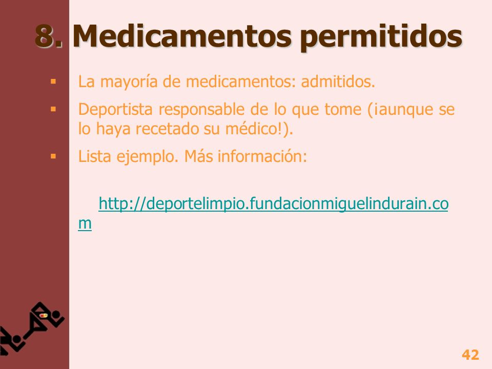 8. Medicamentos permitidos