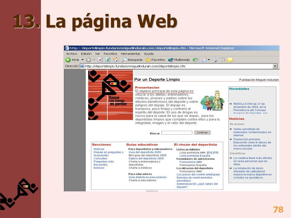 13. La página Web