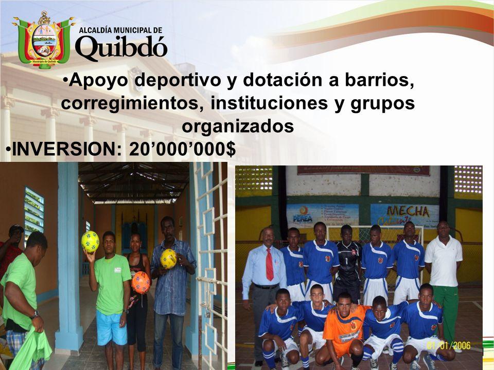 Apoyo deportivo y dotación a barrios, corregimientos, instituciones y grupos organizados