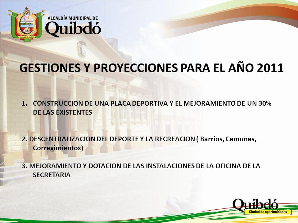 GESTIONES Y PROYECCIONES PARA EL AÑO 2011
