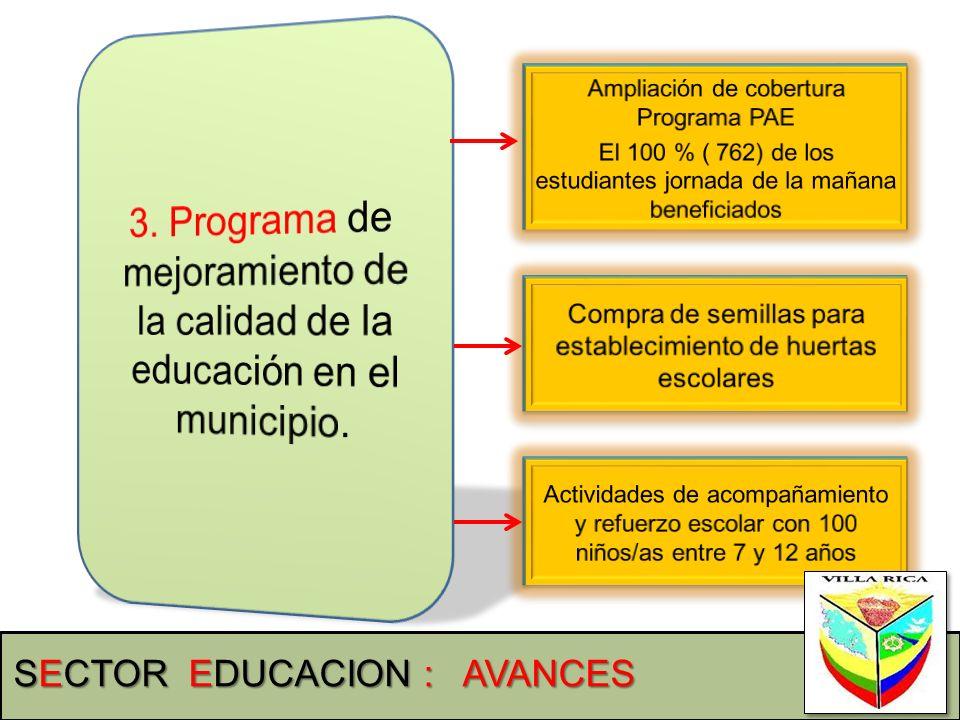 3. Programa de mejoramiento de la calidad de la educación en el municipio.
