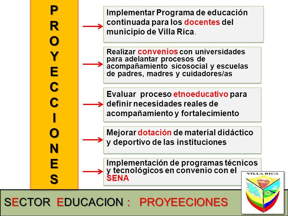 P R O Y E C I N S SECTOR EDUCACION : PROYEECIONES