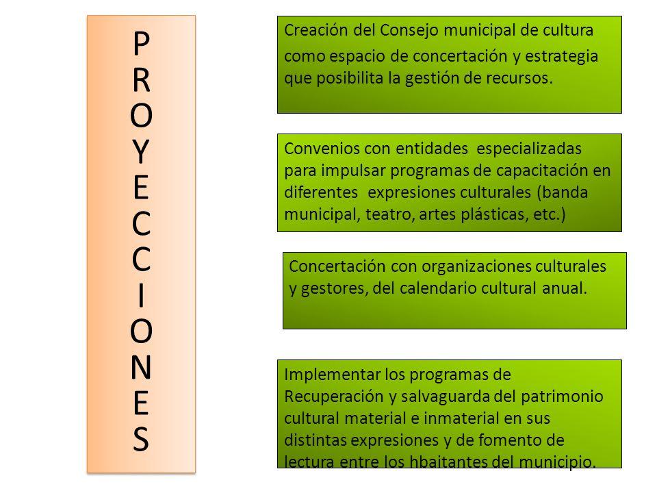 P R O Y E C I N S Creación del Consejo municipal de cultura