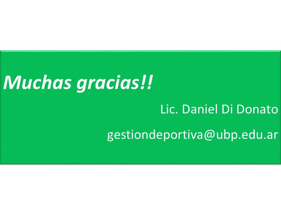 Muchas gracias!! Lic. Daniel Di Donato gestiondeportiva@ubp.edu.ar
