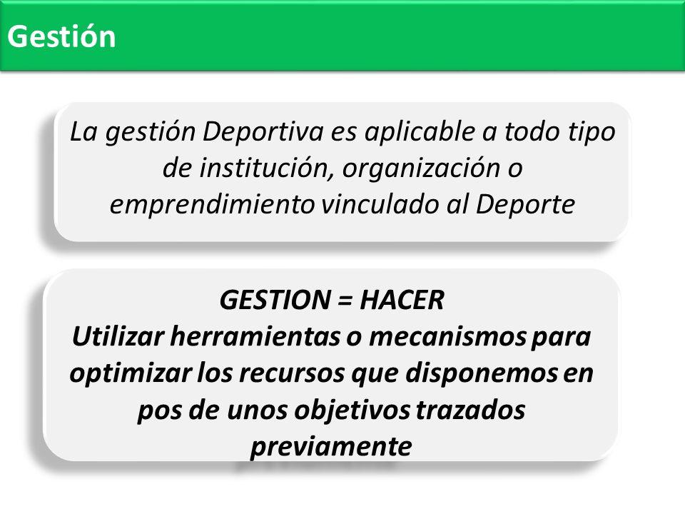 Gestión La gestión Deportiva es aplicable a todo tipo de institución, organización o emprendimiento vinculado al Deporte.