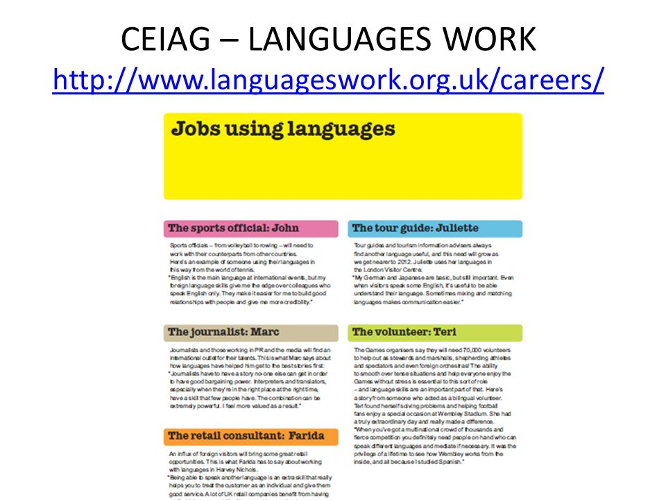 CEIAG – LANGUAGES WORK http://www.languageswork.org.uk/careers/