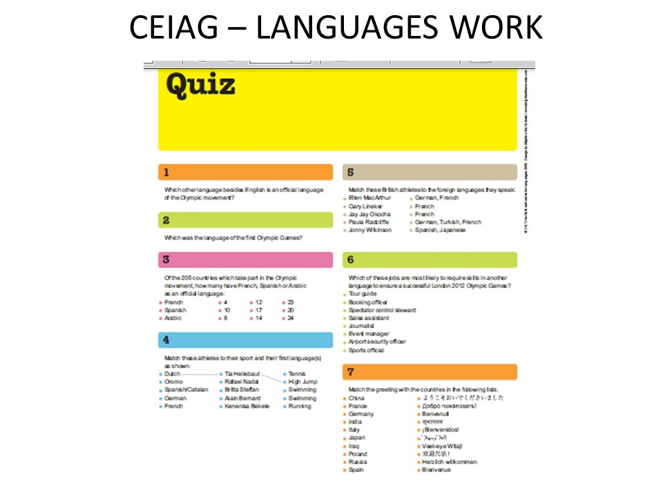 CEIAG – LANGUAGES WORK