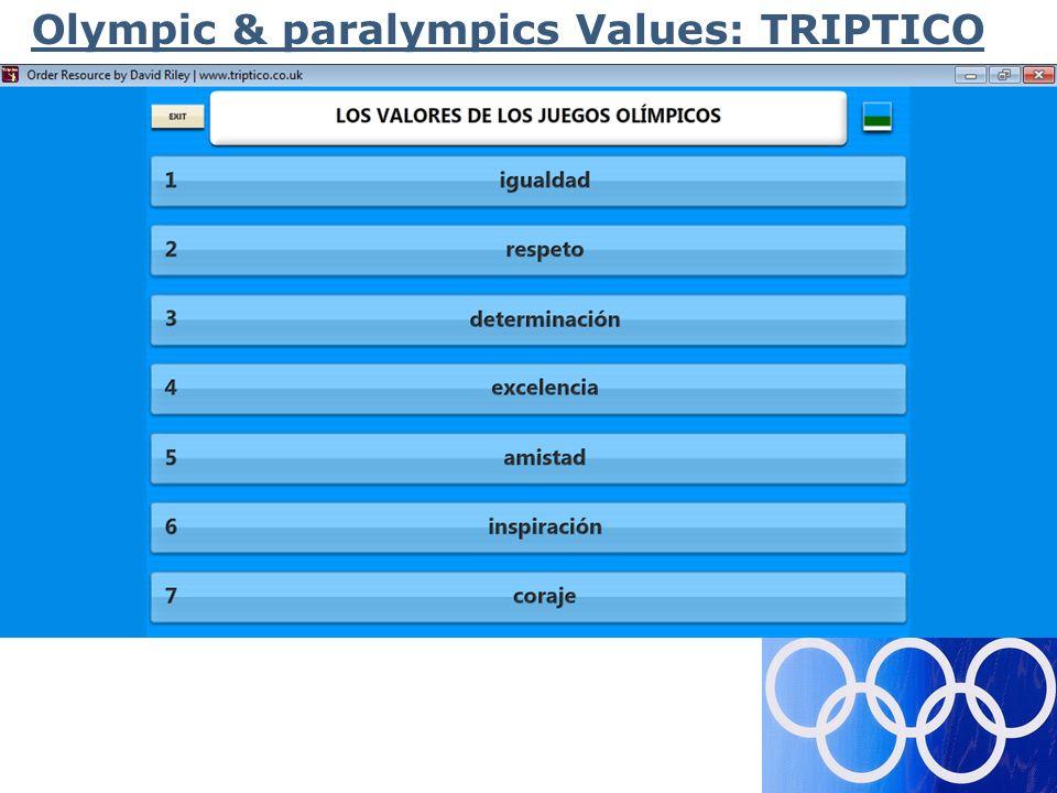 Olympic & paralympics Values: TRIPTICO
