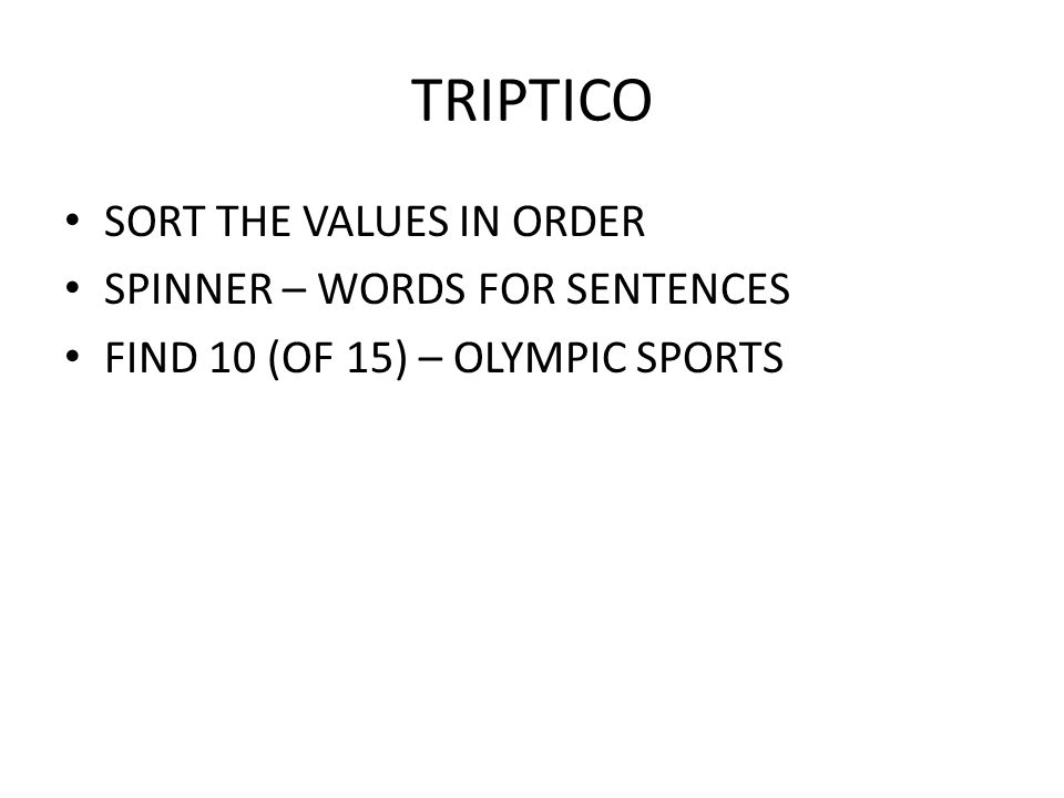 TRIPTICO SORT THE VALUES IN ORDER SPINNER – WORDS FOR SENTENCES
