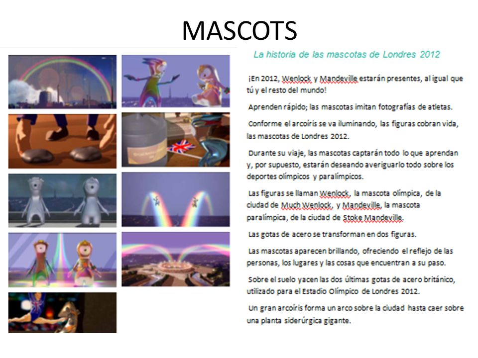MASCOTS Match the text to the photos, which run in order, Column 1 then Column 2