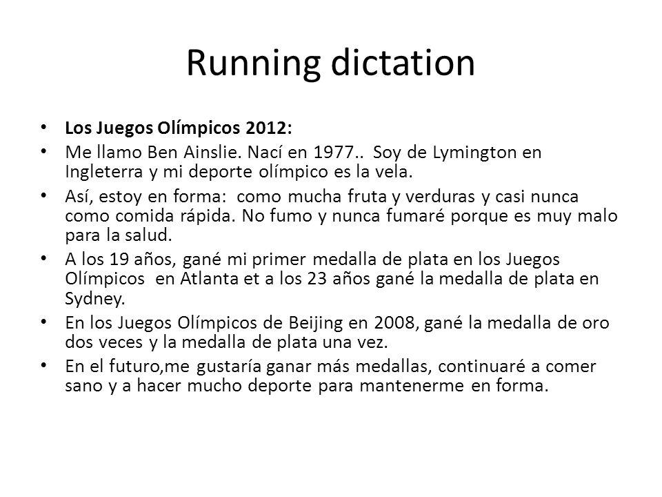 Running dictation Los Juegos Olímpicos 2012: