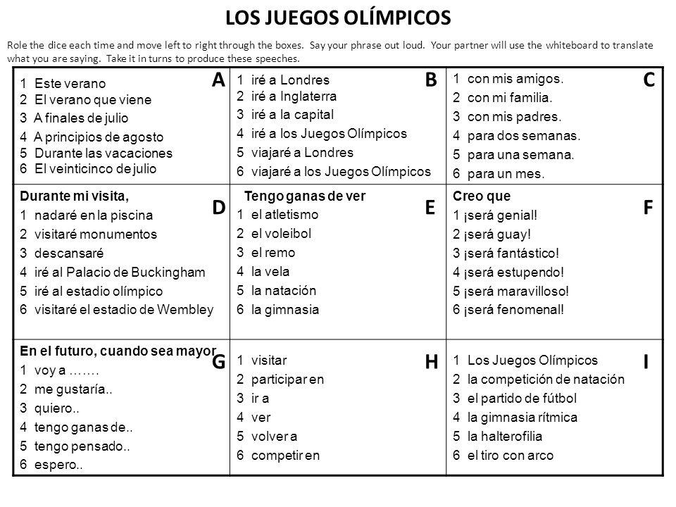 LOS JUEGOS OLÍMPICOS A B C D E F G H I
