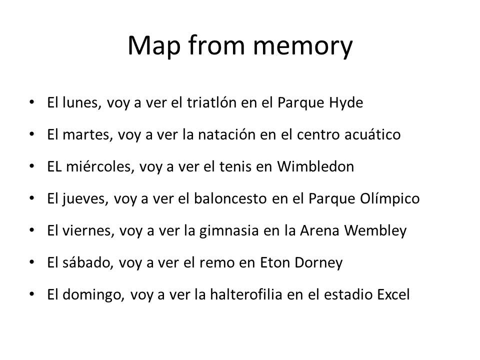 Map from memory El lunes, voy a ver el triatlón en el Parque Hyde