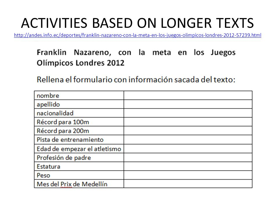 ACTIVITIES BASED ON LONGER TEXTS http://andes. info